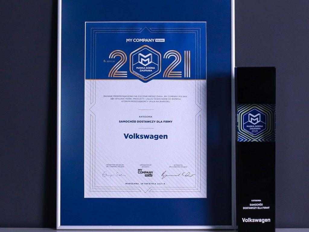 """Volkswagen Samochody Dostawcze wyróżniony tytułem """"Marka Godna Zaufania"""""""